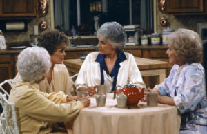 """THE GOLDEN GIRLS -- """"Diamond in the Rough"""" Episode 22 -- Pictured: (l-r) Estelle Getty as Sophia Petrillo, Rue McClanahan as Blanche Devereaux, Bea Arthur as Dorothy Petrillo Zbornak, Betty White as Rose Nylund (Photo by Gary Null/NBC/NBCU Photo Bank via Getty Images)"""